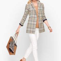 Double Breasted Plaid Blazer Site Master, Plaid Blazer, Talbots, Double Breasted, White Jeans, Pants, Jackets, Outfits, Clothes