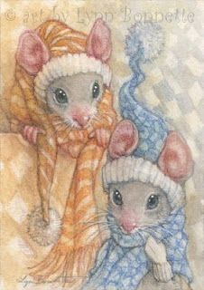 "Art by Lynn Bonnette: ""Winter Mouse Fashions"""