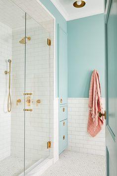 Pastel Bathroom, Aqua Bathroom, Bathroom Hardware, Bathroom Kids, Bathroom Chrome, Bathroom Shower Doors, Glass Shower, Washroom, Shower Door Handles