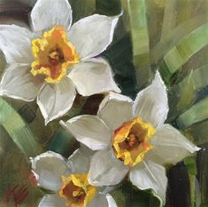 """Daily Paintworks - """"Daffodils in the Garden"""" - Original Fine Art for Sale - © Krista Eaton"""