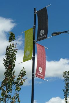 Aurora Flags- Street Pole Banners- Edmonton's Source for Pole Banners Entrance Signage, Event Signage, Event Branding, Wayfinding Signage, Pole Banners, Flag Banners, Custom Flags, Custom Banners, Outdoor Banners