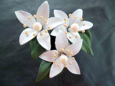 Leather orange blossom flower - swarovski pearls flower - bridal flower - anniversary flower - wedding flower - leather gift by iFioriDiNorma on Etsy