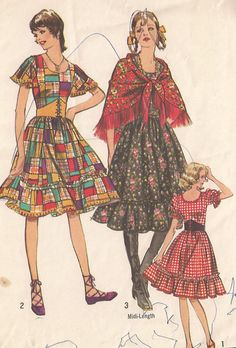 Boho, gypsy, square dance, peasant dress - Simplicity vintage sewing pattern - Size 12