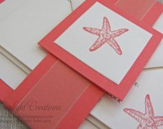 Coral Beach Wedding Invitations