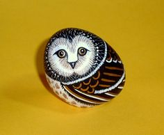 Spooked Hoot Owl woodland wildlife Halloween centerpiece decor hand painted rocks by RockArtiste, $27.00