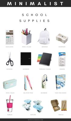 Minimalist School Supplies for College and High School. School essential packing list for girls and boys. Minimalist School Supplies for College and High School. School essential packing list for girls and boys. Middle School Supplies, Middle School Hacks, School Supplies Highschool, High School Hacks, School Supplies For College, Back To School Essentials, Back To School Highschool, Back To School Clothes, Back To School Tips