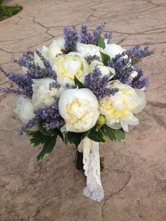 White peony and lavender bouquet   Four Leaf Clover Designs NEPA