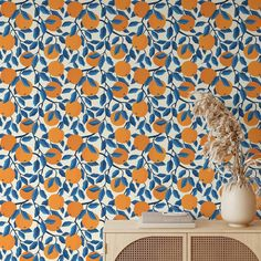 Oranges Pattern Removable Wallpaper, Pretty Blue Leaf Wall Cling, Botanical Peel and Stick, Modern Home Decor, Decorative Wall Mural Decal - Smooth Wall Decal / 1 roll: 24W x 72H