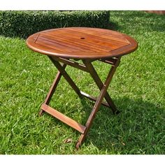 International Caravan Acacia 32-inch Round Folding Table - Free Shipping Today - Overstock.com - 11138037 - Mobile
