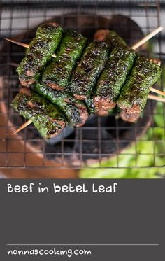 Beef in betel leaf Dill Recipes, Syrup Recipes, Home Recipes, Thai Recipes, Asian Recipes, Barbecue Sauce Recipes, Grilling Recipes, Cooking Recipes, Thai Food Restaurant