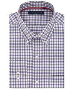 Tommy Hilfiger Men's Big & Tall Classic-Fit Non-Iron Purple Check Dress Shirt