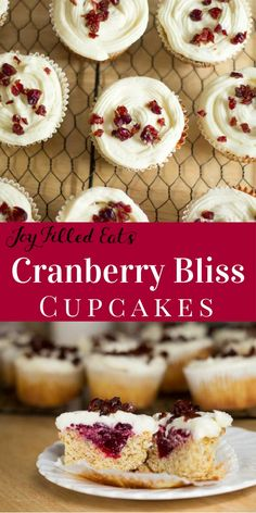 Cranberry Bliss Cupcakes really are blissful. Tender yellow cake filled with cranberry sauce and topped with cream cheese icing. Low Carb, Gluten Free, Sugar Free, THM S, Grain Free via @joyfilledeats