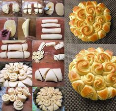 Festive Bread - Food Recipes Can't wait to try this! Bread And Pastries, Pastries Recipes, Festive Bread, Holiday Bread, Bread Recipes, Cooking Recipes, Bread Art, Bread Food, Bread Shaping
