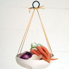 I like this unglazed porcelain hanging basket. They feature it with veggies here but also succulents and soaps. Can get different color straps too..I like the chocolate!