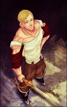 Manga: Nanatsu no Taizai (Chapter Photoshop I love Merlin x Arthur, but. Escanor is so cute. Merlin and Escanor Seven Deadly Sins Anime, 7 Deadly Sins, Anime Echii, Anime Japan, Otaku Anime, Vampire Knight, Lord Escanor, Character Concept, Character Design