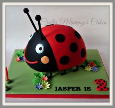 Gaston the Ladybird - Cake by CraftyMummysCakes (Tracy-Anne) Toddler Birthday Cakes, 3rd Birthday Cakes, Girl 2nd Birthday, Ben And Holly Cake, Ben E Holly, Harry Birthday, Fairy Birthday Party, Lady Bug, Ben Elf