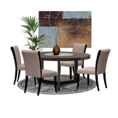 This 60 Inch Round Dining Table by Diamond Sofa features a dark walnut finish with a stunning crackled glass lazy Susan with four Taupe Bonded Leather Side Chairs.  Spacious, Functional and Chic, this table has it all and will seat up to six to eight guests comfortably.