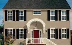 Sky Blue House White Trim Grey Blue Door Brown Roof