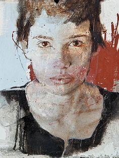 Massimo Lagrotteria, mixed media {contemporary #expressionist art male head profile man face portrait grunge cropped painting #loveart #2good2btrue} massimolagrotteria.com