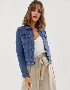 Buy Vero Moda denim jacket at ASOS. Get the latest trends with ASOS now. Denim Bomber Jacket, Oversized Denim Jacket, Denim Vests, Denim Jackets, Button Front Denim Skirt, Embroidered Denim Jacket, Safari Jacket, Mini Shirt Dress, Denim Fashion
