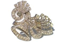 Art Deco Rhinestone Bell Brooch Pave Set Rhinestones and