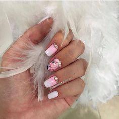 Beautiful nails 2017, Bird nail art, Evening nails, Flamingo nails, Gradient nails with a transition, Nails shellac gradient, Obmre nails, Party nails