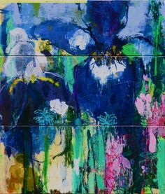 Private Gardens #4 Irises -Today Is A Good Day Mixed media on 3 panels 120x140cm 47.2x55 inch