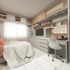 Beautiful girl's room inspiration The wall opposite the bed houses space for tv studies and make up. The air conditioning was camouflaged by a Room Design Bedroom, Girl Bedroom Designs, Room Ideas Bedroom, Home Room Design, Small Room Bedroom, Home Decor Bedroom, House Design, Dream Rooms, Dream Bedroom