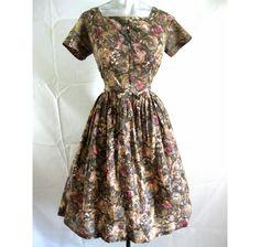 Vintage 50s Dress Full Skirt Autumnal Water Color Roses 38 Bust by LilBlackDressVintage on Etsy