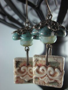 Beautiful textured tiles in these earrings by Marie Cramp, from Earrings Everyday