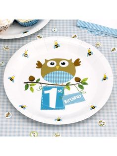 Little Owls Blue 1st Birthday Paper Plates 8pk  sc 1 st  Pinterest & 1st Birthday Giraffe Foil Balloon 18