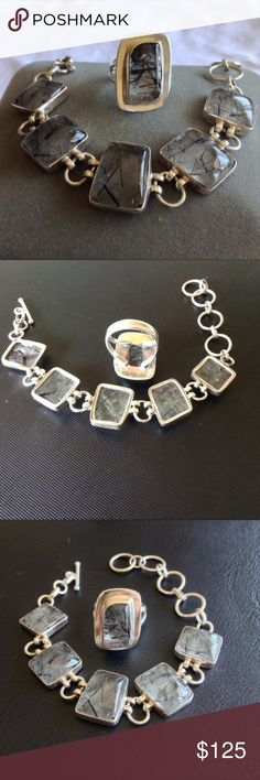 STERLING AND RUTILE QUARTZ RING AND BRACELET SET gorgeous matching sterling and Rutile quartz bracelet and ring  ring is a 7.5 and the bracelet is 8 inches end to end Jewelry