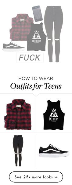 """""""[F#CK]"""" by trovblemakerz on Polyvore featuring moda, Topshop y Vans"""