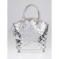 Pre-owned Louis Vuitton Limited Edition Silver Monogram Miroir Lockit... ($775) ❤ liked on Polyvore featuring bags, handbags, monogrammed purses, monogrammed handbags, lock bag, pre owned handbags and pattern purse