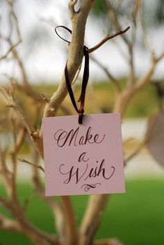 instead of the traditional wishing well....a wishing tree....people could leave a simple note/wish on the tree...