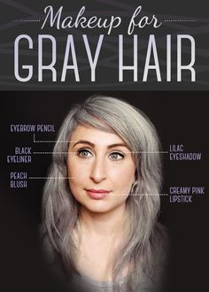 We consulted makeup artist Yana Markevich about which colors work best with gray hair. Eyebrow Pencil: Use a light, cool-toned eyebrow pencil to create a fulle Grey Hair Eyebrows, Grey Hair And Makeup, Grey Hair Dye, How To Color Eyebrows, Blue Hair, Dyed Hair, Hair Makeup, Lilac Hair, Pastel Hair