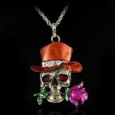 Skull Flower Crystal Necklace