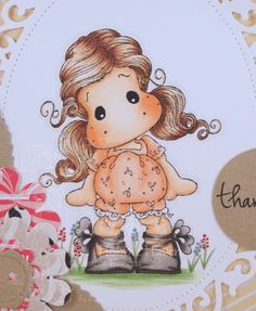 Tilda with Ribbon Shoes.  Step by Step Instructions for Copic Coloring Card Kit by HeathersHobbieHaven.