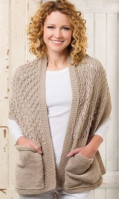 Knitting Pattern for Lace Reader's Wrap in Worsted Weight Yarn - Easy pocket shawl also comes with a super bulky yarn version Easy Knitting, Loom Knitting, Knitting Stitches, Knitting Patterns Free, Knitted Poncho, Knitted Shawls, Crochet Shawl, Knit Crochet, Crochet Vest Pattern