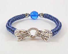 Blue Dragon Bracelet Daenerys Style Jewelry by BeauBellaJewellery Dragon Bracelet, Viking Bracelet, Dragon Jewelry, Wire Jewelry, Jewelry Necklaces, Viking Knit Jewelry, Blue Dragon, Iron Age, Etsy Uk
