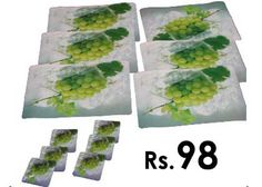 Get Dinning Table Mats & Coasters 12 Pcs Set at just Rs. 98