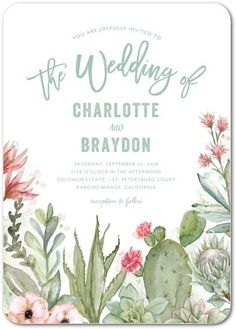 Blooming Cactus - Signature White Textured Wedding Invitations - Lady Jae - Basil - Green : Front