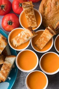 Tomato Soup with Grilled Cheese Dippers