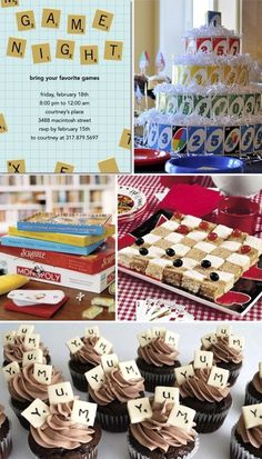 like the idea of cupcakes - can use scrabble topper or something else; possibly the checkerboard finger sandwiches ???  don't like the uno cake!