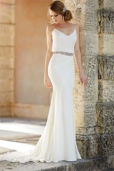 Love the simple silhouette and clean but flowy lines, replace belt with ribbon - Wedding Dresses by Martina Liana