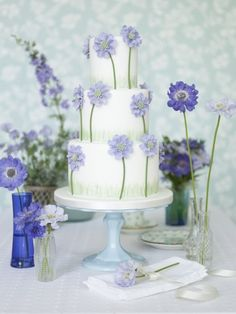 Purple Flower Wedding Cake, Zoe Clark Cakes