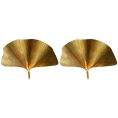 Exceptional pair of large brass Ginkgo leaves wall sconces, by Tomasso Barbi, Italy. 1965. Rewired. D'Lightus @ Antiques of River Oaks, Houston, TX