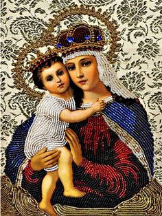 Rhinestones DIY Diamond Painting Religion Madonna With Children Mosaic Crystal Cross Stitch Unfinished Home decor Dimensional Embroidery Fashion, Diy Embroidery, Embroidery Digitizing, Religious Icons, Religious Art, Jesus Christ Images, Queen Of Heaven, Mama Mary, Mary And Jesus
