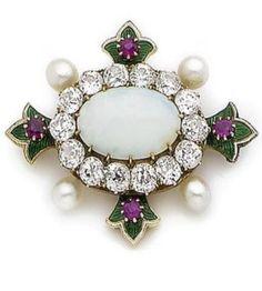 An opal, diamond, ruby, pearl and enamel brooch, circa 1900.
