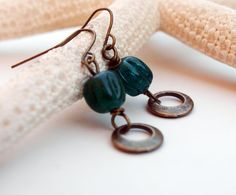 Little Hoop Earrings with Glass Teal glass by SaraBernhartJewelry, $13.50